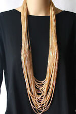 Layered Chain Fashion Necklace Gold Plated Aluminium Long Multi