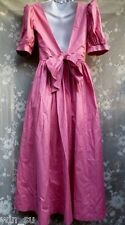 Vintage NEW~Laura ASHLEY~Full Skirt~Plunge Back Bow~DRESS~Berry Crisp Cotton~6 S