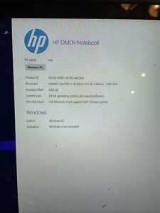 HP OMEN / Intel Core i7-4720HQ 2.60GHz / 8GB RAM / 221GB SSD !!SEE DETAILS!!!