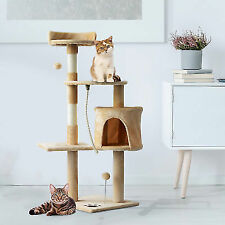 PawHut Tall Cat Condo Tower Scratching Post Activity Tree House Furniture Toys