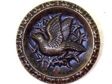 Antique Victorian Buttons Bird Flowers Brass Button Shank Loop LRG. Coat Button