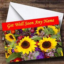 Sunflowers Personalised Get Well Soon Greetings Card