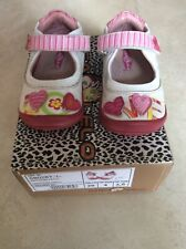 Gorgeous Lea Lelo White & Pink Heart Girls Leather Toddler Shoes Size 3.5 EU 20