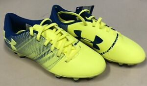NEW Under Armour Spotlight DL FG JR Soccer Cleat Shoes Color Yellow Blue Size 1Y