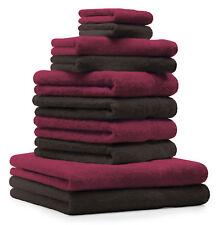 Betz Juego de 10 toallas CLASSIC 100% algodón rojo oscuro y marrón oscuro