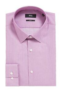 Hugo Boss Men's 'Isko' Purple Slim Fit Dobby Wave Cotton Dress Shirt 15, 33/34