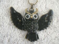 Necklace Owl enamel facet glass rhinestone pendant flying black