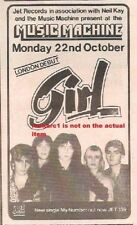 GIRL (Phil C Def Leppard) UK TIMELINE Advert - Music Machine 22-10-79 6x3 inches