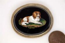 More details for antique victorian silver gilt cavalier king charles spaniel micro mosaic brooch