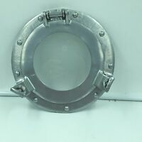 "Ship's Cabin 9"" Porthole With Glass Aluminum Silver Finish Round Nautical Decor"