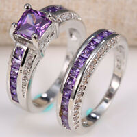 2pcs Fashion 2.5ct Amethyst 925 Silver Women Wedding Engagement Ring Set Sz6-12