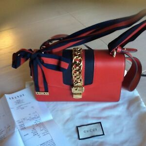 GUCCI Sylvie Leather Chain-Embellished Shoulder Bag W/copy of the receipt