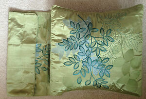 """Pair of Green Shannon Satin Effect Cushions Covers - 40 cm 16"""" Square"""
