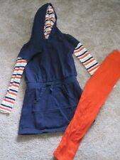 Gymboree 7/8 sweatshirt dress and leggings set outfit lot blue orange stripes