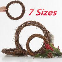 Christmas Dried Rattan Wreath Grape Vine Garland Ring Door Wall Christmas Decor