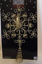 12 In Metal Gold Glitter Bead Snowflake Tree Topper Christmas Holiday Decoration