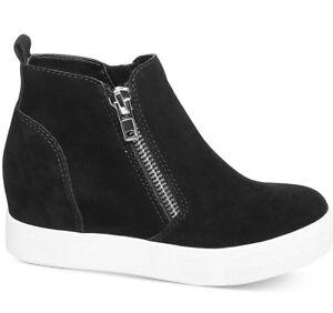 Steve Madden Wedgie Suede Leather Sneakers Wedge Heels Shoes Black Women 8 - NEW