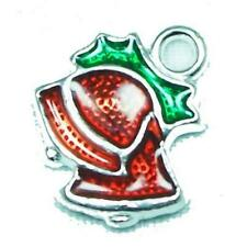 4 x Silver/Red Enamel & Alloy 13x15mm Christmas Jingle Bell Charm/Pendant Y09880