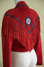 Vtg Red Suede Leather Coat Jacket Native Indian Southwestern Boho Fringe Beaded