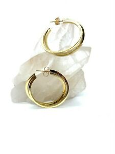 14KT Yellow and White Gold Hoop Earrings