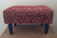 Vintage Retro Footstool FabricTop Burgundy Red & Gold Brocade Low Stool 24.5 Cm