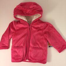 NWT Healthtex Hot Pink Minky Eared Cozy Fleece Hoodie 6-9 Months- Faux Fur!