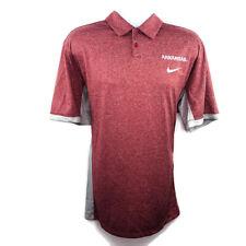 Nike Dri Fit Mens Polo Shirt Size XL Arkansas Razorback Logo Heather Red Gray
