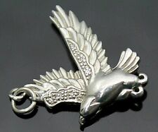 Solid Sterling Silver Pendant Charm Genuine Diamonds Accent 3D Detailed Eagle