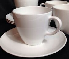 Corning Centura Solid White Coupe Cup & Saucer 8oz Set of 4