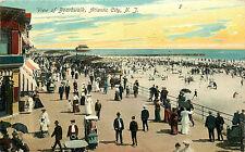 ATLANTIC CITY NJ VIEW OF BOARDWALK AND BEACH 1907 P/C