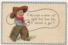 Cowboy Lasso Ten Gallon Hat Spur Western Postcard