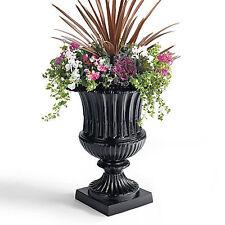 Garden Patio Flower Planter Fluted Antique Victorian Cast Aluminum Urn (2 piece)