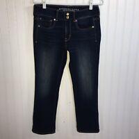 American Eagle Artist Crop Jeans sz 6 Blue Super Stretch Dark Wash