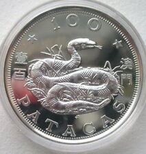 Macao 1989 Year of Snake 100 Patacas Silver Coin,Proof