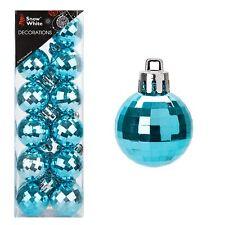 Christmas 24 Pack 30mm Disco Baubles Tree Decoration - Glaçon Blue