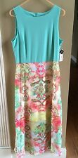 Studio One New York Mint and Coral Maxi Dress Cruise/Cocktail - Size 12 NWT
