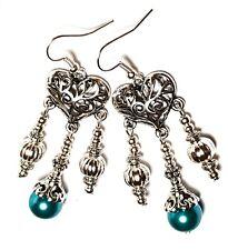 Silver Chandelier Teal Pearl Pierced Earrings Glass Bead Antique Vintage Style