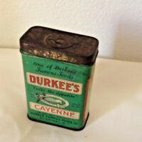 Vintage mid century tin Durkee's Cayenne pepper spice box