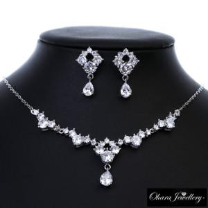 18K White Gold Cubic Zirconia Vintage Pendant Necklace & Earrings Set Jewellery