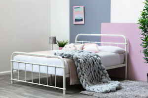 Black / White Metal Bed Frame Victorian Hospital Style Single Double King Size