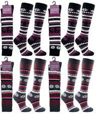 Ladies Womens Thick Fair-Isle Thermal Knee High Wellington Boot Socks 3 PAIRS