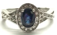 Sterling Silver Blue Sapphire - CZ Halo Crossover X Band Petite Cocktail Ring 7