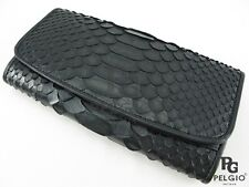 PELGIO Real Genuine Python Snake Skin Leather Trifold Clutch Wallet Purse Black
