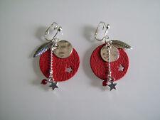 Boucles d/'Oreilles Originales Violet//Prune//Argenté Etoile//Imitation cuir clip