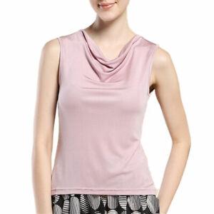Pure Silk Knit Women'S Cowl Neck Tank Top