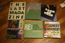 6 Book Lot - Fonts, Type Faces / Printing Types, & Graphic Design Print Media