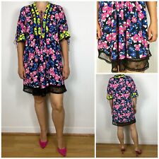 Topshop Vibrant Floral Print Silky Lace Detail Knee Dress 10 12   Boho Hippie