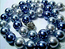 "Flawless White Gold *F 8-9mm White Blue Gray Round *Sea Shell Pearl 18"" Necklace"