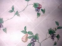5 Dbl Rolls-Sunworthy Wallpaper-Pears Apples Plums on Tile Wall-Vinyl Pre-Pasted