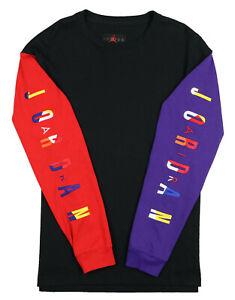 JORDAN Rivals Long Sleeve Jersey Shirt sz Large Black Red Purple 91 Championship
